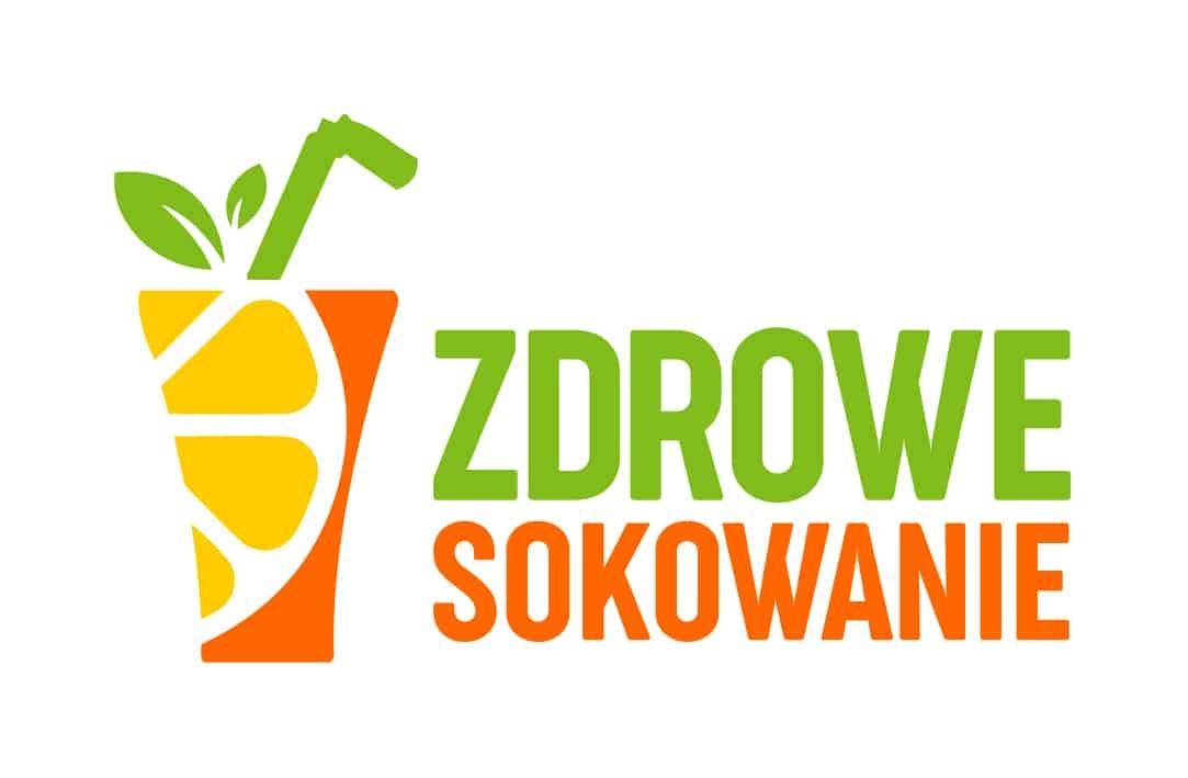 logo witryny zdrowesokowani.com szklanka soku ze słomką