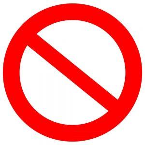 czerwony znak przeciwskazania
