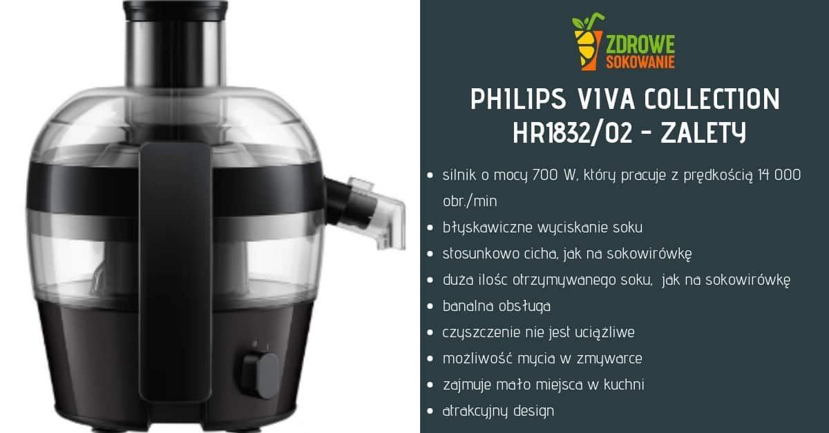 zalety sokowirówki philips hr1832-02